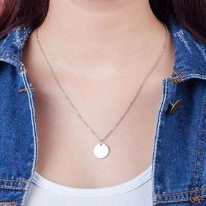 Single Round Coin Necklace (Silver)